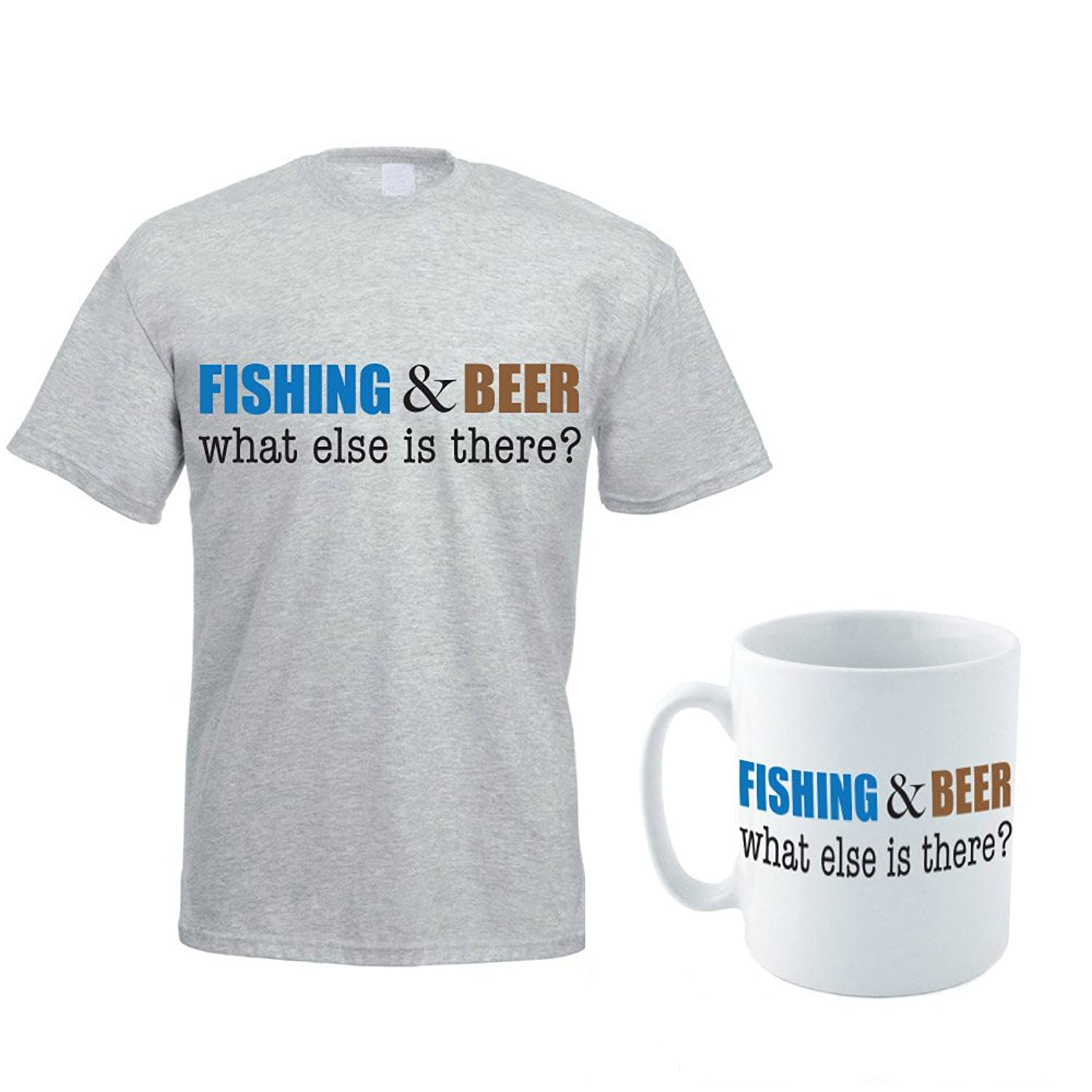 FISHING & BEER WHAT ELSE IS THERE? - Fish / Bait / Alcohol / Funny Themed Men's T-Shirt and Ceramic Mug Set