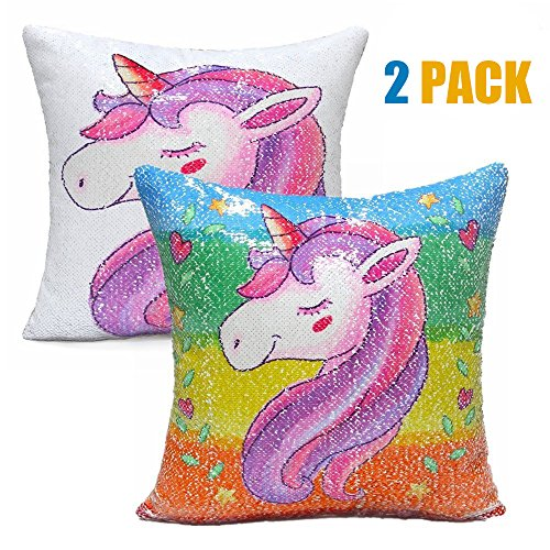 HOME MATE Sequins Throw Pillow Shams Decorative, Unicorn Throw Pillow Slipcovers -Mermaid Pillow Cover for Sofa Bed,16