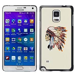 LECELL--Funda protectora / Cubierta / Piel For Samsung Galaxy Note 4 SM-N910 -- Skull Native American Feathers --