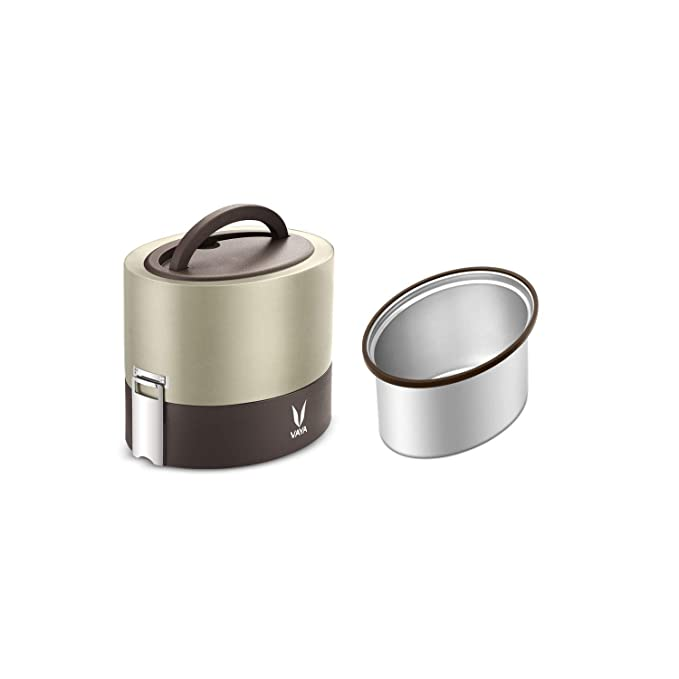 Vaya Tyffyn 600 ml with 600 ml Polished Stainless Steel Container Without Bagmat  Graphite, 600 ml  Lunch Boxes