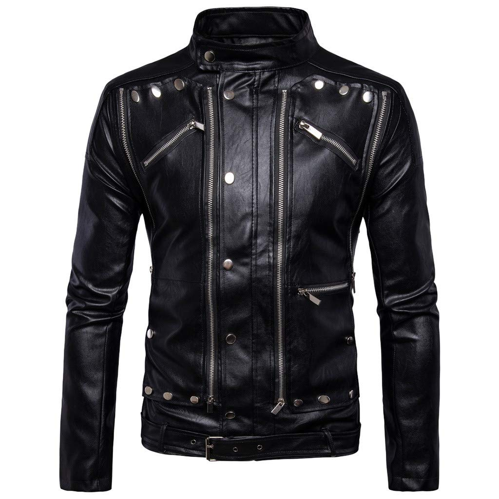 Benficial 2019 New Coat for Men Leather Autumn&Winter Jacket Biker Motorcycle Zipper Outwear Warm Coat Black by Benficial
