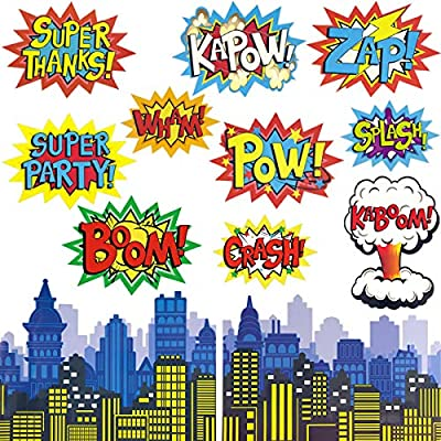 Fancy Land Superhero Action Signs Cutouts 12pcs Words And