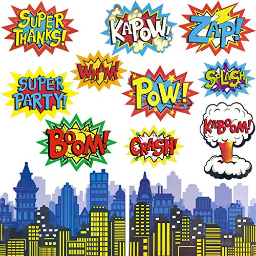 Super Hero Decorations (Fancy Land Superhero Action Signs Cutouts 12PCS Words and Cityscape Cut-Outs for Party)