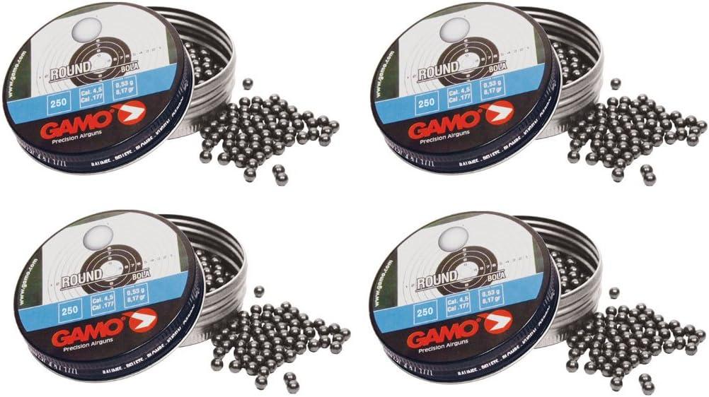 Outletdelocio. 4 latas de 250 perdigones Gamo Round Bola 4,5mm. Modelo 320324