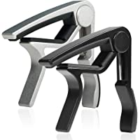WINGO 6 String Single-handed Guitar Capo For Acoustic Electric Guitar - 2 Pack of Black & Silver