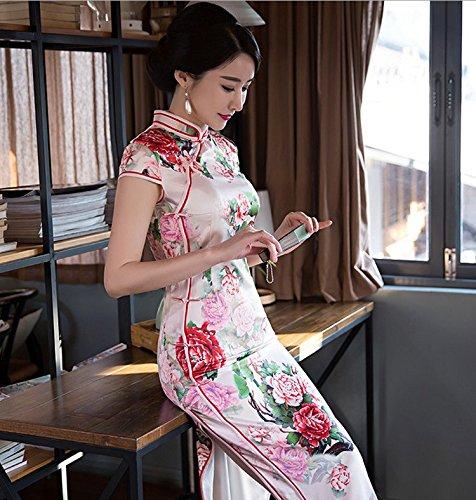 ACVIP Damen Strauchpäonie Blumen Muster Polyester Chinesische Abendkleid