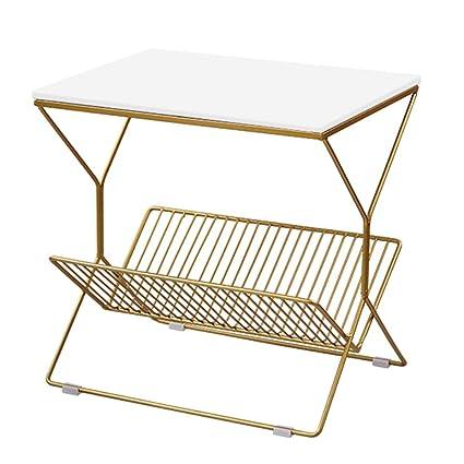 Amazon.com: Mesa de café de metal, mesa auxiliar de sofá ...