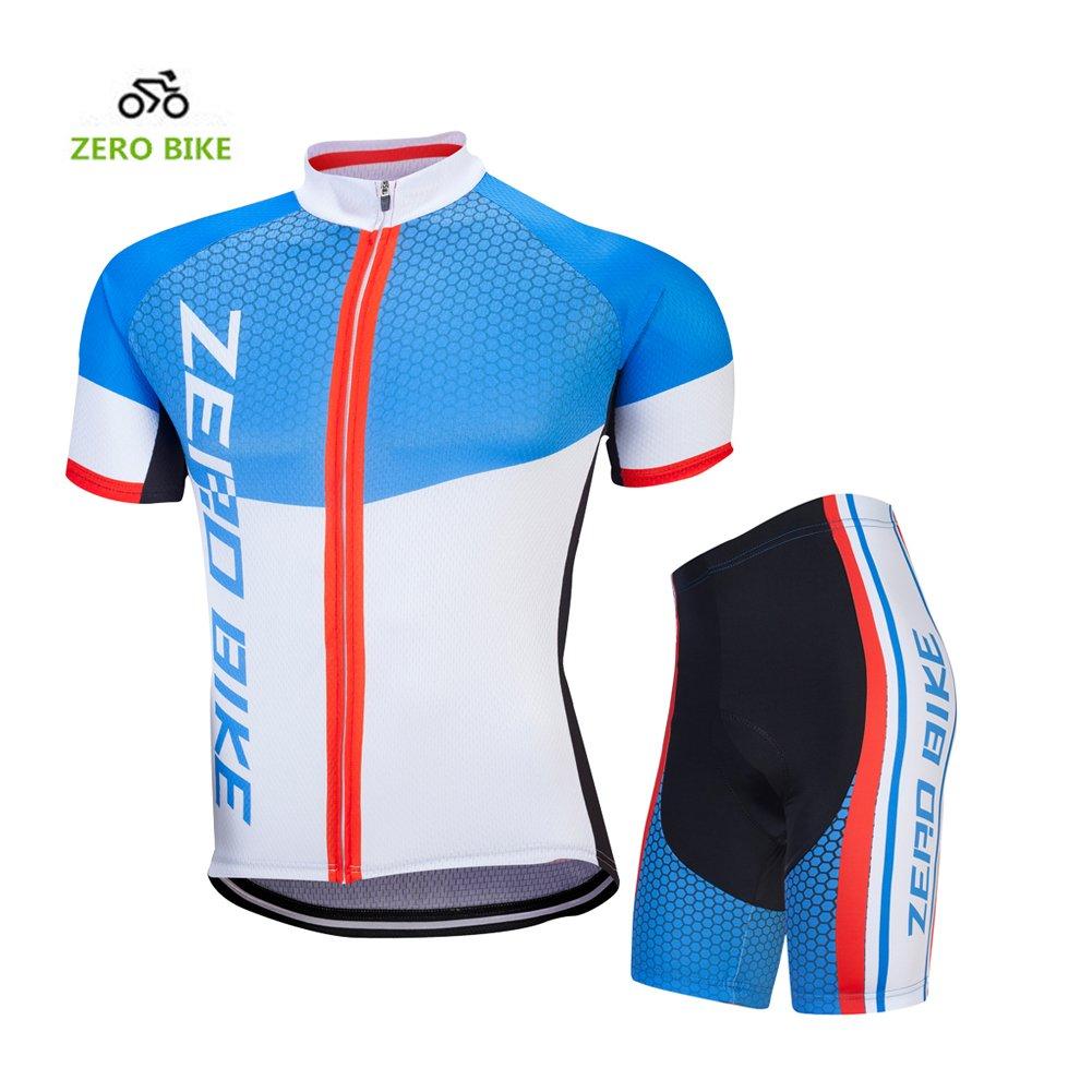 ZEROBIKE® Men Breathable Outdoor Short Sleeve Cycling Jersey 4D Padded Shorts Set karru
