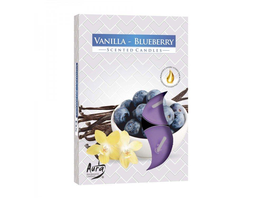 GIRM® - HX922306 Candele profumate , di paraffina, all'aroma di vaniglia-mirtillo. Set 6 Pezzi - Tealight Profumatore per ambiente. Candele odorate per la casa . Aromaterapia AB.M