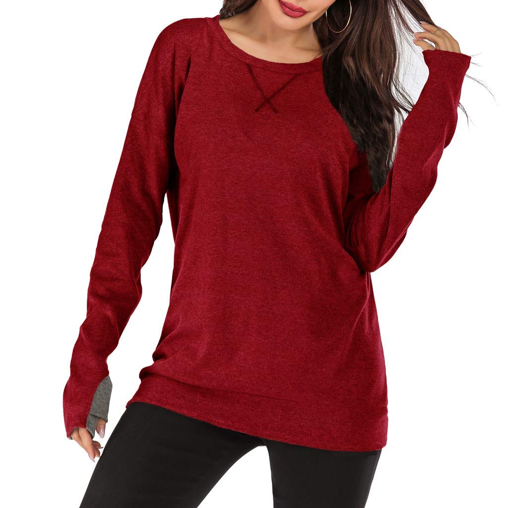 TRENDINAO 2019 Women's Patchwork Tops,Casual Solid Color Crew Neck Long Sleeve Loose Pullover Blouse Shirts Wine by TRENDINAO