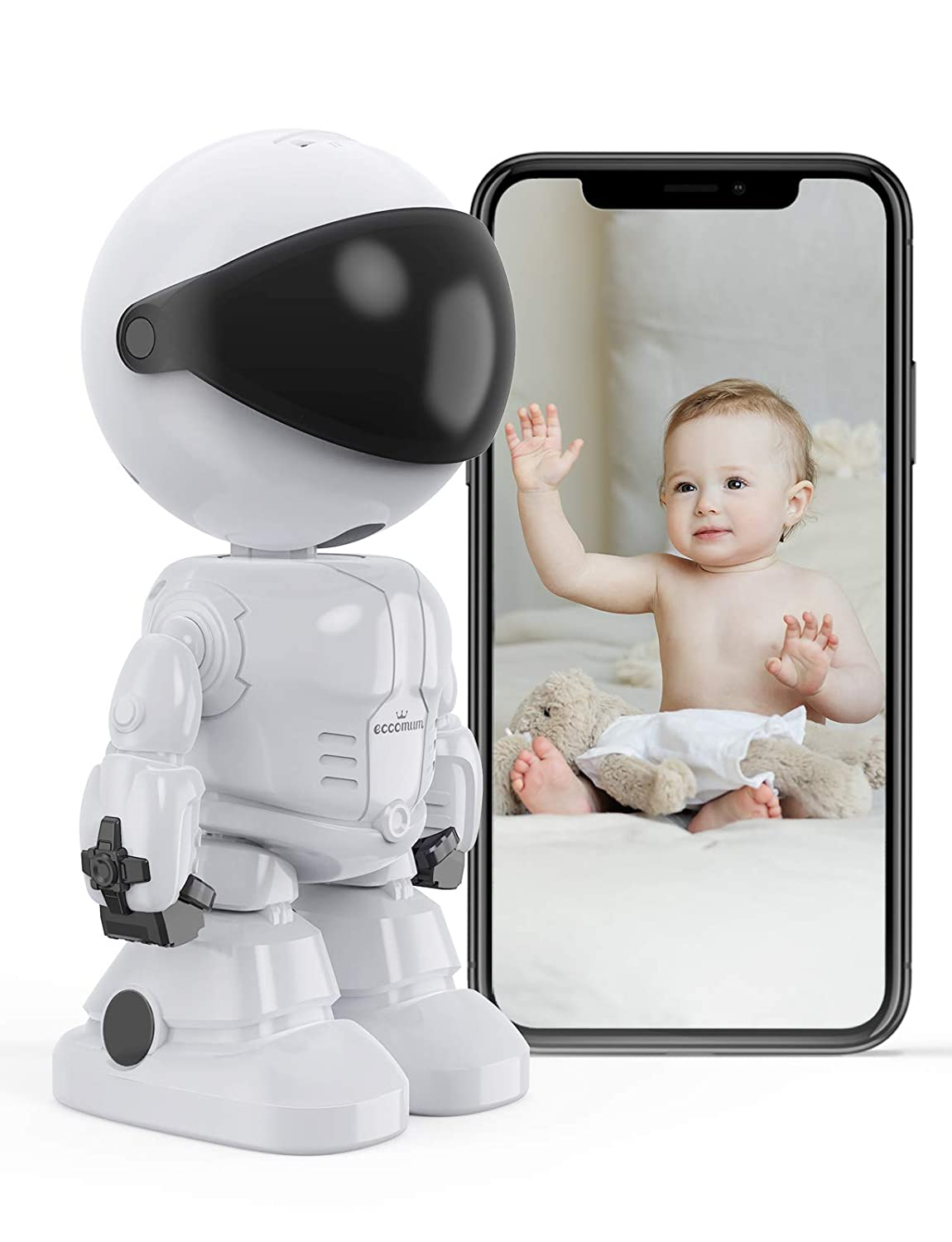 Baby Monitor, eccomum 1080P Indoor Security camera, Pet Camera with Camera and Audio, Pan/Tilt/Zoom Toddler Monitor, 2-Way Talk, Night Vision, Pan-tilt Control, Compatible with iOS & Android System