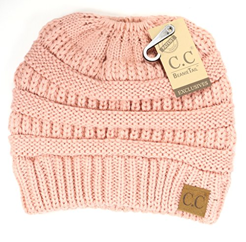 Dark Pink Classic Rose - Crane Clothing Co. Women's Solid Classic CC Beanie Tail One Size Rose