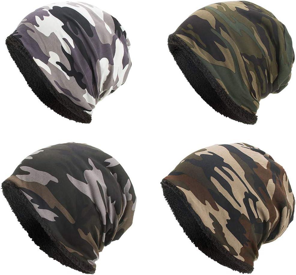 Ocobudbxw Unisex Inverno Caldo Baggy Berretto Cappello Camouflage Faux Fleece Foderato Sci Skull cap