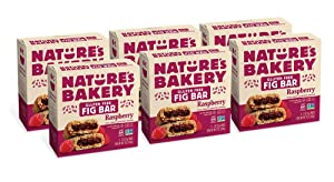 Nature's Bakery Gluten Free Fig Bars, Raspberry, Real Fruit, Vegan, Non-GMO, Snack bar, 6 boxes with 6 twin packs (36 twin packs)