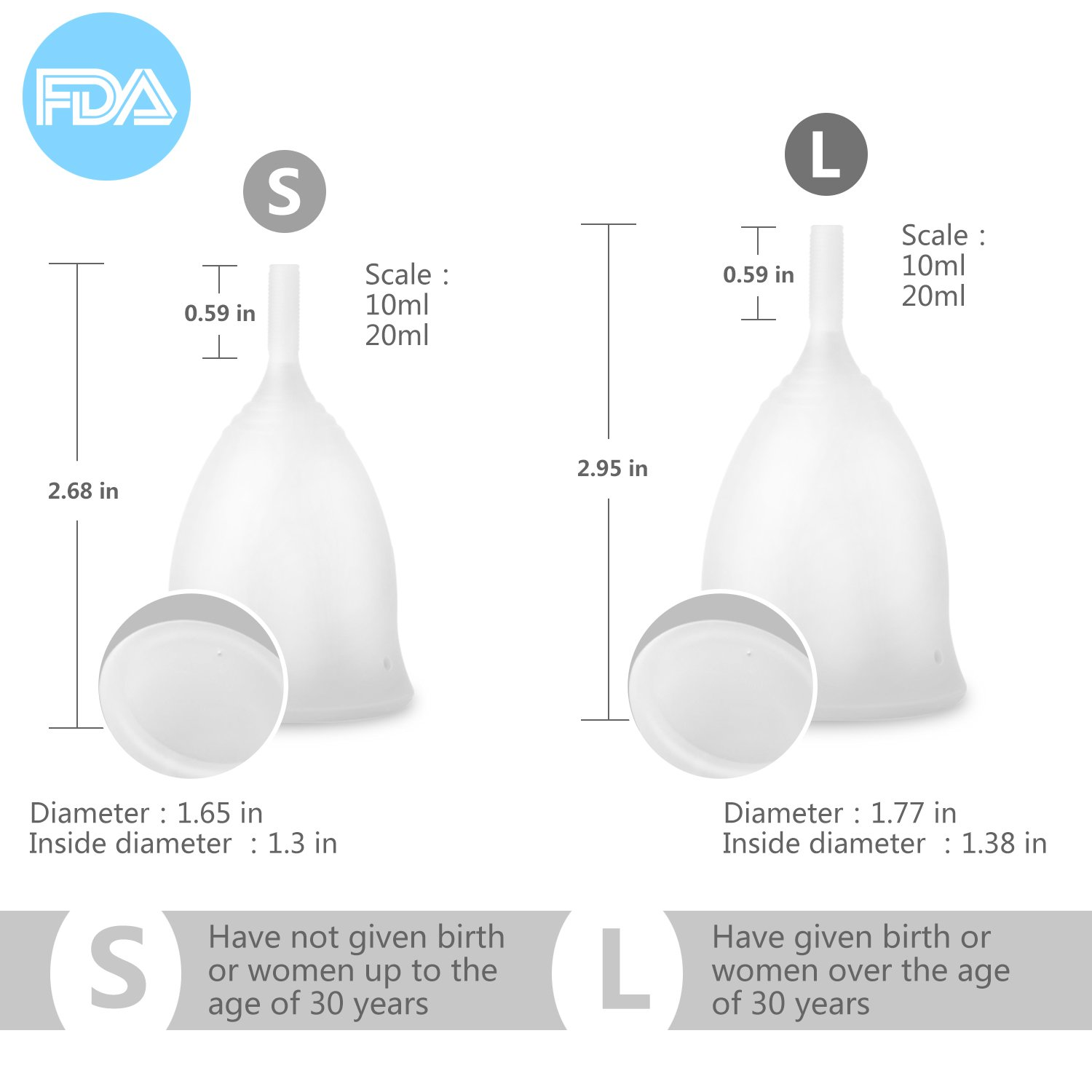 Menstrual Cup, wollz Most Comfortable Feminine Hygiene Period Cup ,Tampon and Pad Alternative ,for Collecting Menstruation Flow and Feminine Hygiene Protection (Small,Pack of 2,White)