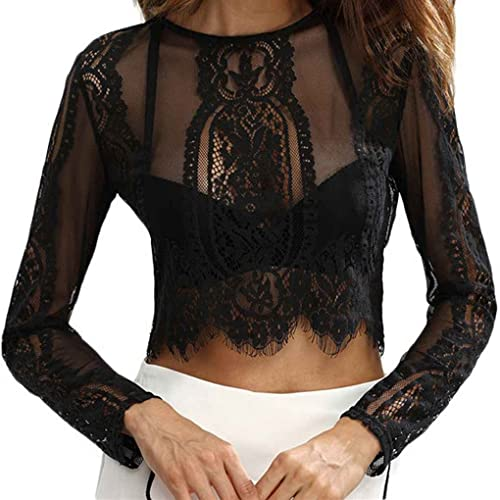 Camisas para mujer Tops Sexy encaje cuello redondo de manga larga Crochet Crochet Zipper Back Mesh B...