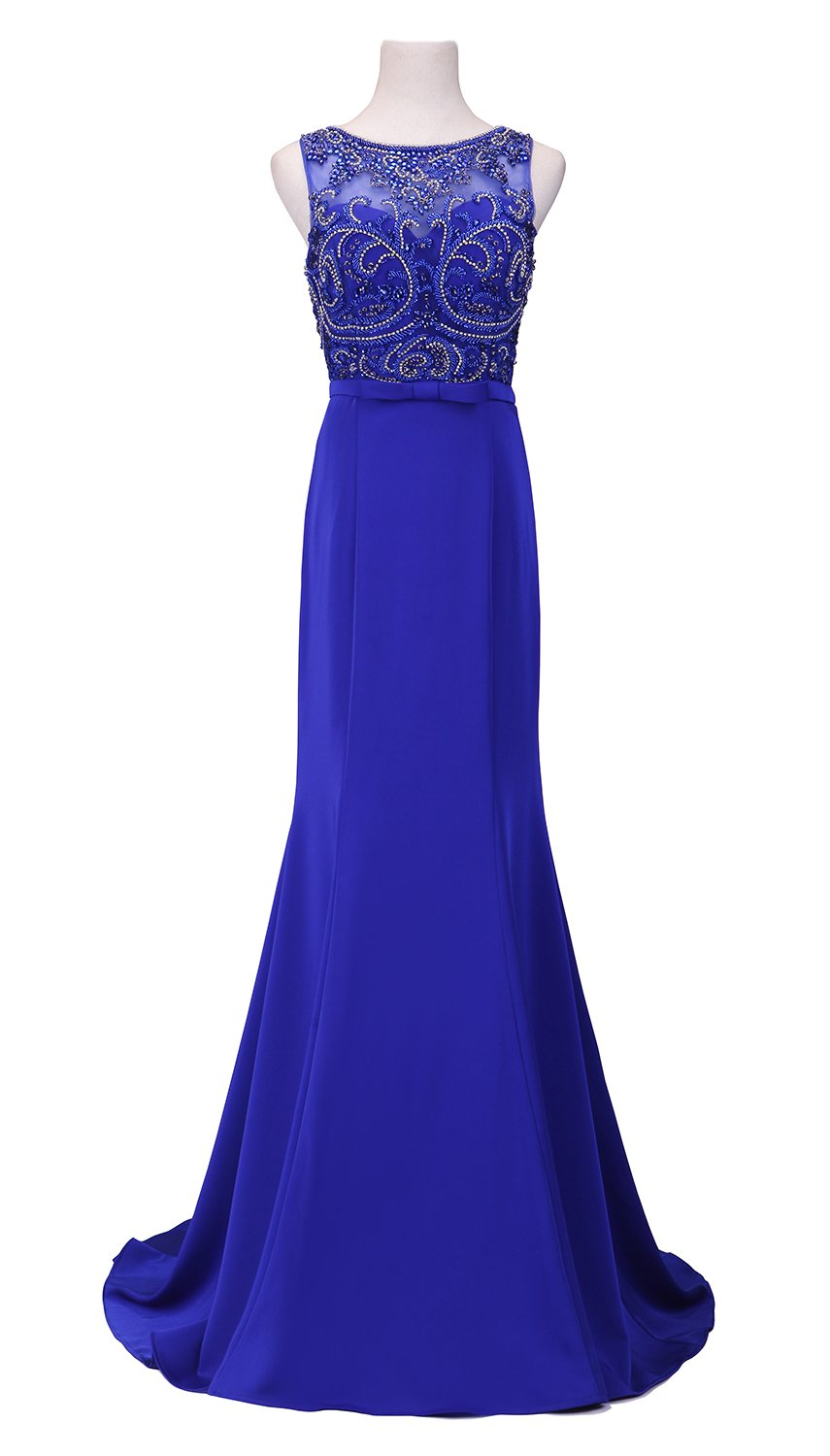 Anlin Luxury Prom Dresses Beaded Sequins Sleeveless Long Evening Gowns Blue US10
