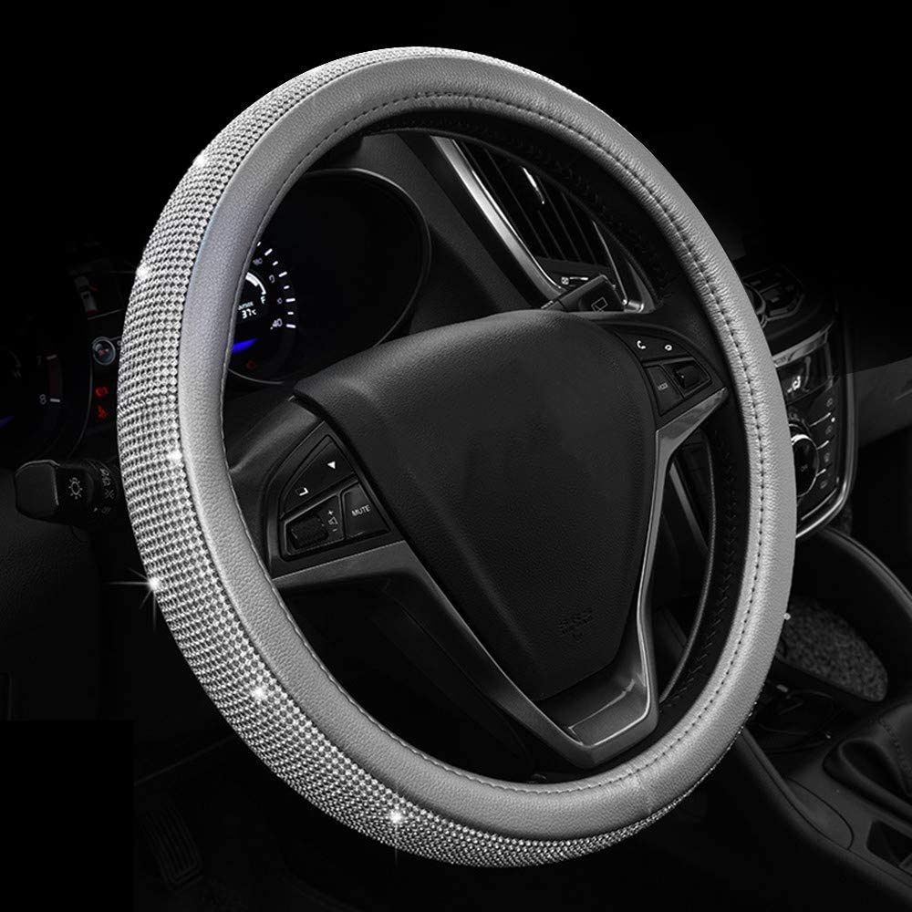 ZHOL Diamond Leather Steering Wheel Cover with Bling Bling Crystal Rhinestones Universal Fit 15 Inch Anti-Slip Wheel Protector,Silver Grey