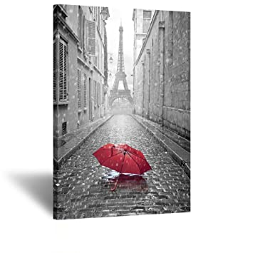 Black and white romantic paris street contemporary art poster prints eiffel tower with red umbrella photography