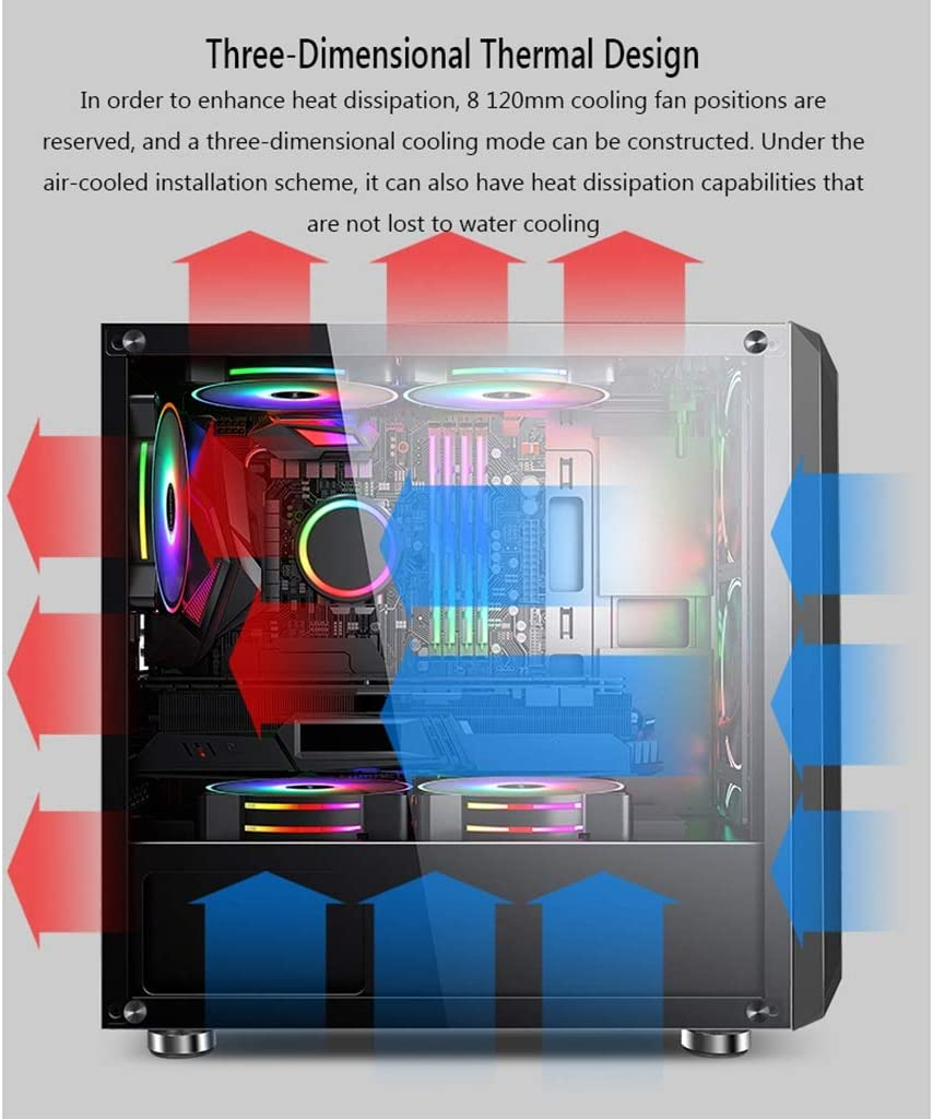 WSNBB Gaming Case Mid-Tower M-ATX//Mini-ITX PC Gaming Computer Case,Tempered Glass,for Desktop PC Compute