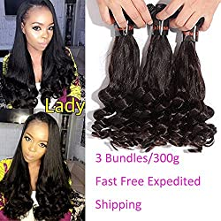 XCCOCO Hair Funmi Spring Curly Weave 3 Bundles(12 14 16inch) Cheap Bouncy Curl Hair Weave 7A Peruvian Remy Virgin Human Hair Extension Natural Black Color(300g/set)