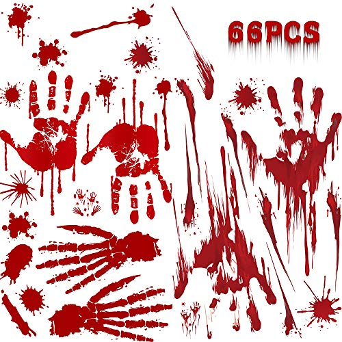 Luxsego 6 Sheets 66 pcs Bloody Handprint Window & Wall Stickers for Halloween Vampire Zombie Party Horror Bathroom Decor Window Decals -