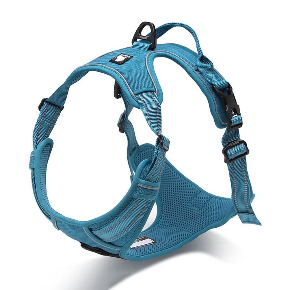 bluee L bluee L Jim Hugh Front Range Reflective Nylon Large pet Dog Harness All Weather Padded Adjustable Safety Vehicular Leads for Dogs pet