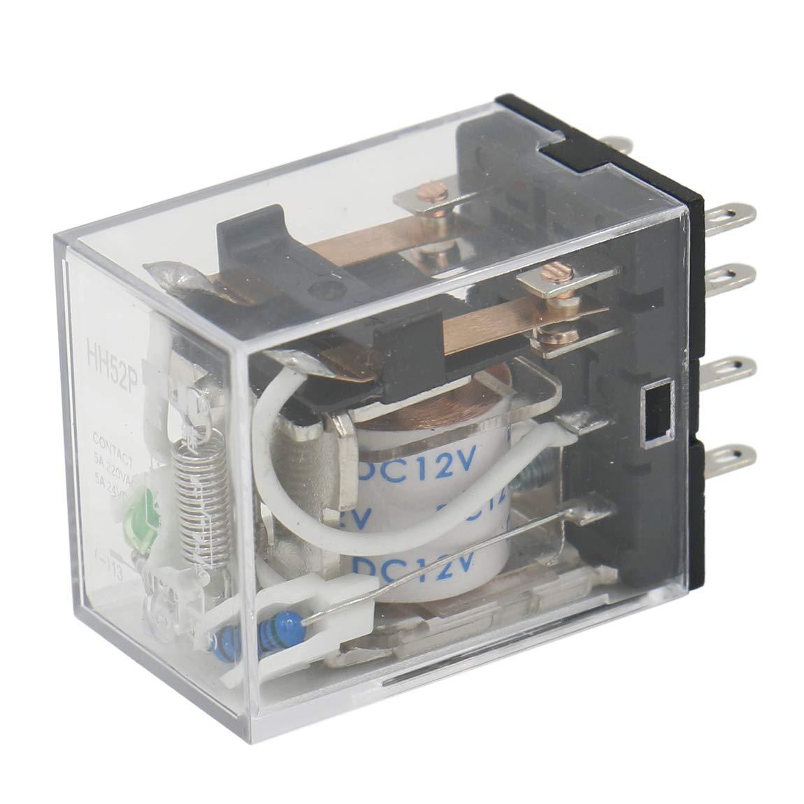 Relais Polyvalent Heschen HH52P 12 V DC Bobine 5 A 220 V AC// 24 V DC DPDT /à 8 Broches