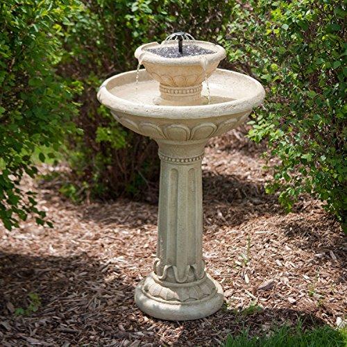 BeUniqueToday 2-Tier Solar Fountain Bird Bath in Weather Resistant Fiberglass Resin, Adorable 2-Tier Solar Fountain Bird Bath Weather-Resistant, Maintenance-Free Resin and Fiberglass