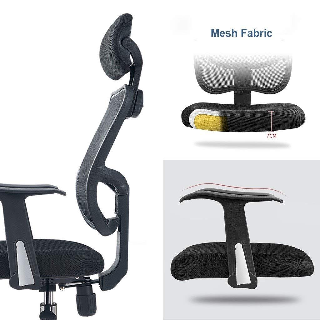 JIAJULL kontorsstol på hjul, hög ryggstol, justerbara svängbara stolar, hemuppgift stol med nättyg vadderat säte och armstöd, nackstöd, ergonomisk Orange Svart