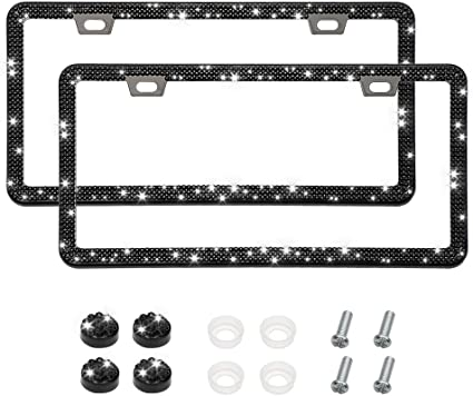 Bling License Plate Frames 2 Pack Luxury Pure Handcrafted Bling Rhinestone Premium Stainless Steel License Plate Frame for Cars with Anti-Theft Screws Caps Set Black Caps and Screws