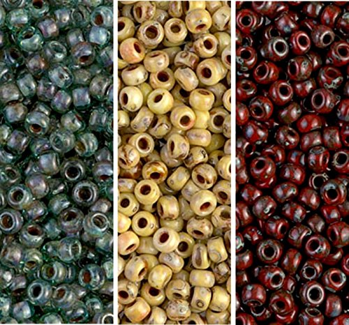 Picasso Mix 2 - Miyuki Seed Beads, Size 8/0, Picasso Canary Yellow Matte, Picasso Red Garnet Matte, Picasso Transparent Olivine (3 X 22 Gram Tubes)