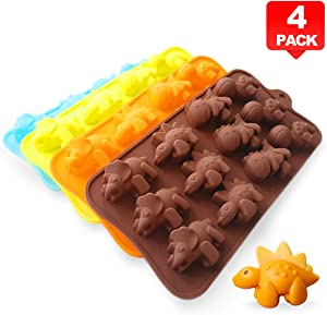 PERNY Dinosaur Molds, Non-Stick Silicone Dinosaur Mold for Crayon Soap Candy Chocolate, Pack of 4