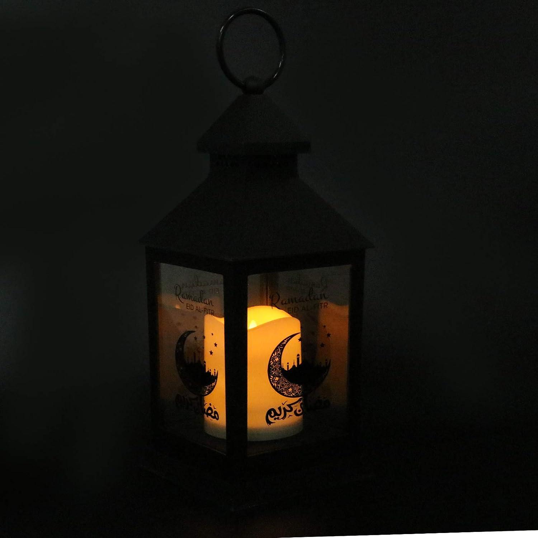 Happyyami Eid Mubarak Lanterns Eid Ramadan Lanterns Ramadan LED Candle Lamp Moroccan Candle Lantern for Table Centerpiece Decor (Random Style)