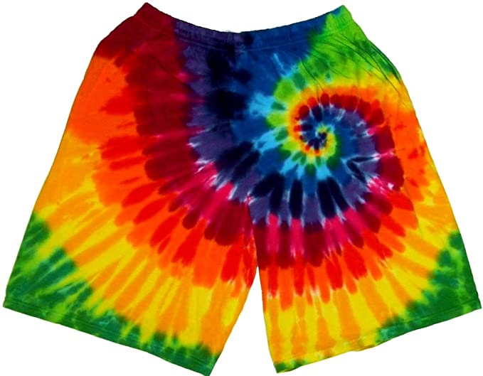 dcd79f8f103a0 Tie Dyed Shop 12 Color Spiral Rainbow Tie Dye Shorts for Men Women