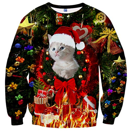 Hgvoetty Ugly Cat Shirt for Women Men Pullover Christmas Sweatshirts S -