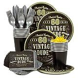 vintage dude 60 - Vintage Dude 60th Standard Tableware Kit (Serves 8)