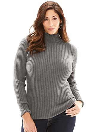 700a0ce315a Jessica London Women s Plus Size Turtleneck Sweater with Ribbing - Charcoal  Grey