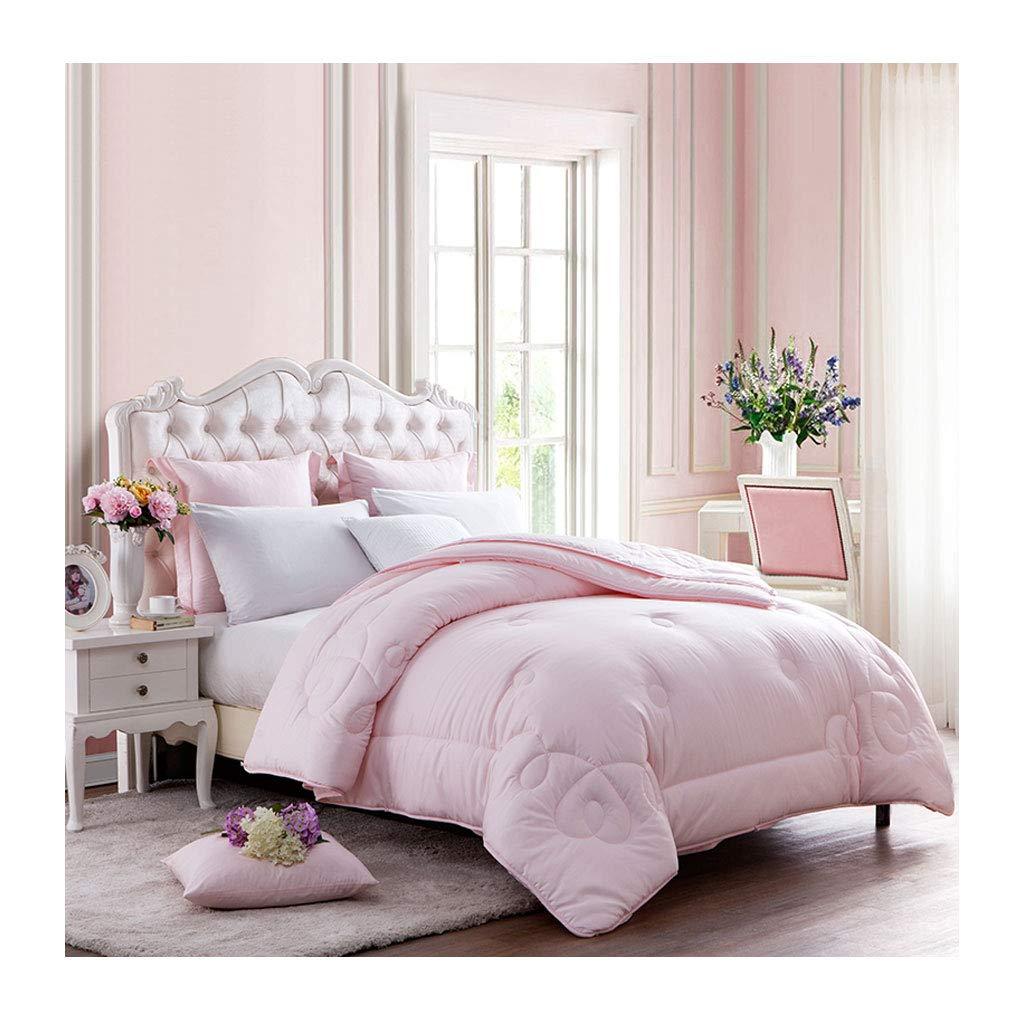シンプルな秋と冬の厚い暖かいパーソナルダブルキルトソフトコアベッドルームのホステルのベッドのライニングを保つ (色 : Pink, サイズ さいず : 155×215cm) B07MHWWWCH Pink 155×215cm