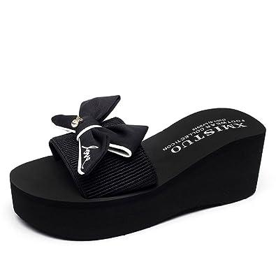 Coole Hausschuhe Im Sommer Neue Dicke Slipper Damen Schräge Sandalen Kleine Schuhe Hausschuhe Sandalen Absatzhöhe 5 5 cm,Blue-38 CHENGXIAOXUAN
