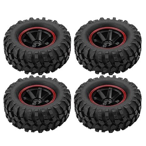 Dilwe RC Neumático de Coche, 4 Pcs Neumáticos de Rueda 6 Hoyos Neumáticos de Goma