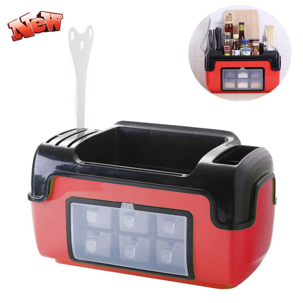 HLDWXN Storage Rack,Kitchen Storage Box, Multi-Function Seasoning Box with Lid Storage Rack Kitchen Supplies Seasoning Shelf(422225cm),Kitchen Supplies,Red by HLDWXN
