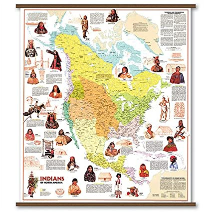 Indian Tribes In North America Map Amazon.com: Rolled Map   Indian Tribes of North America: Kitchen