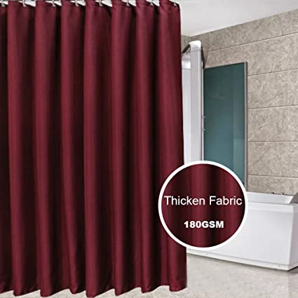 Eforcurtain Durable Hotel Fabric Shower Curtain Water Repellent Mildew Proof Classic Curtains For Bathroom