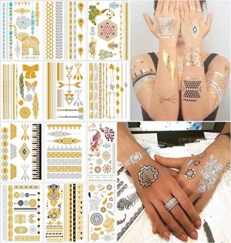 COKOHAPPY 12 Sheets Metallic Temporary Tattoo Gold Silver Over 150+ Shimmer Design Elephant Peacock Feathers Mandala Mehndi Tropical Hawaiian Armband for Women Teens -