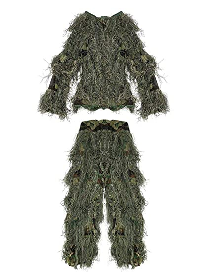 Amazon.com : Poser Ghillie Suit Camouflage 3D Green ...
