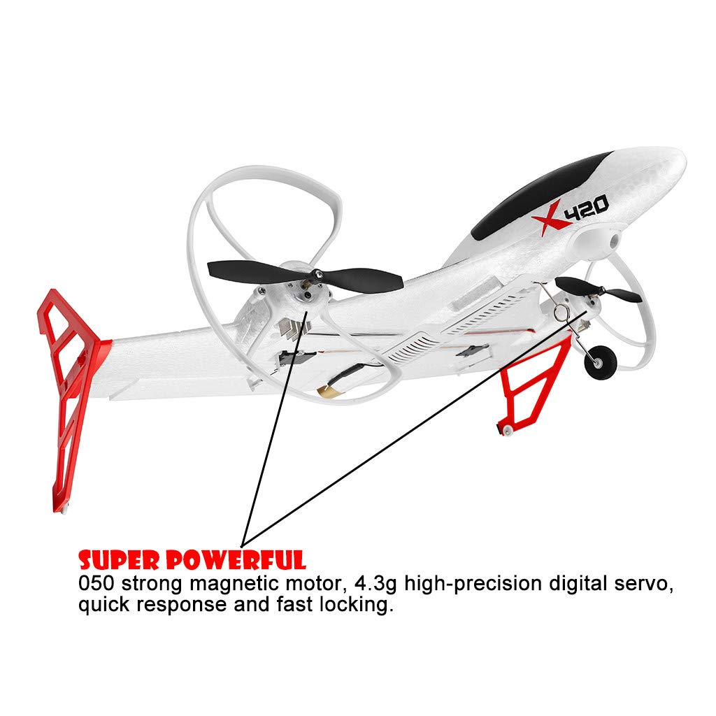 Hisoul X420 RC Airplane - 2.4G 6CH 3D/6G Aerobatic Vertical Take-Off Remote Control Glider - 340mm Wingspan Fixed-Wing RC Airplane, for Beginners Best Gift (♥ White) by Hisoul (Image #4)