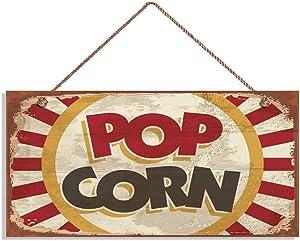 MAIYUAN Retro Pop Corn Sign, Rustic Cinema Decor, Movie Theater Decor, 5