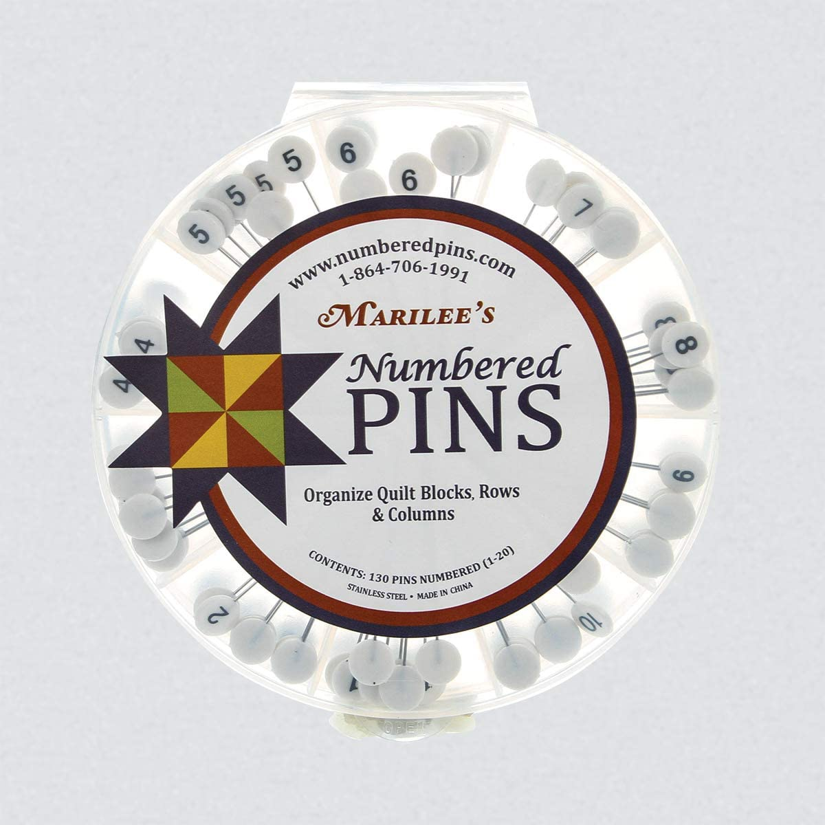 Dritz 3019  Quilting Flathead Numbered And Directional Pins 115//Pkg