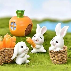 7Pcs Miniature Bunny Figurine Resin Easter Rabbit Carrot Figurines Garden Decoration Set Aquarium Fairy Garden Dollhouse Planter Micro Landscape Decoration